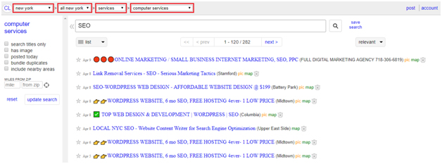 Search for Keyword Ideas on Craigslist