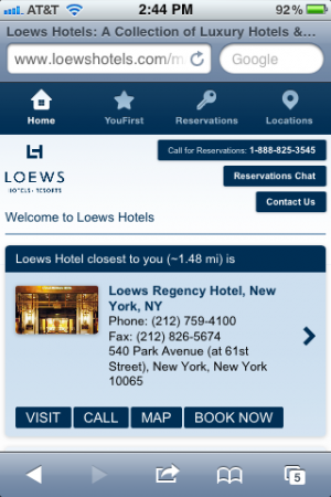 Loews Hotels' award-winning mobile site
