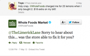 Whole Foods Twitter response