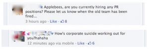 Applebee's PR suicide