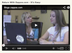 Zappos return video screen shot.