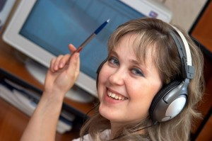 Smiling Headset Woman