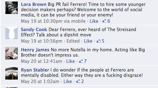 Nutella Facebook comments