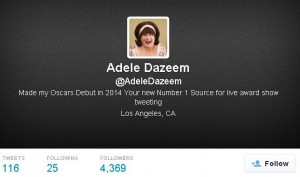 Parody Adele Dazeem twitter account created right after John Travolta's mistake at the 204 Oscars
