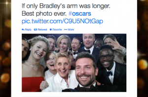 The most retweeted tweet ever - the 2014 Oscars