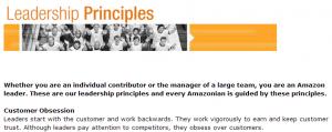 "Amazon's first leadership principle: ""Customer obsession."""