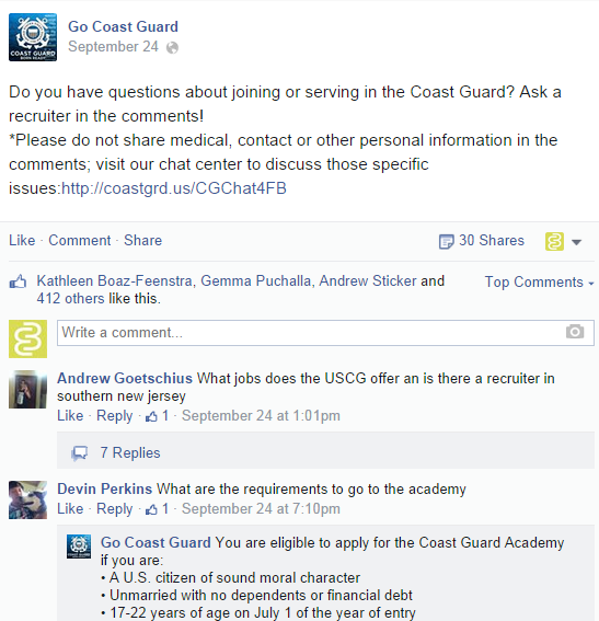 US Coast Guard asks questions on Facebook