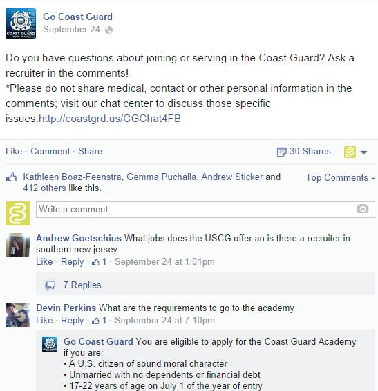 US Coast Guard asks questions on Facebook