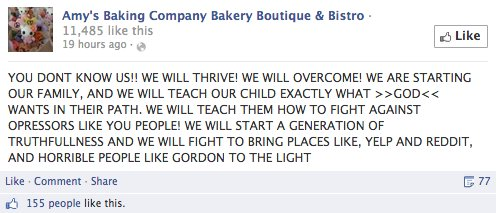 Amy's Baking Company melts down on Facebook