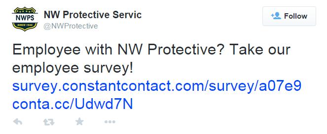 Employee survey tweet