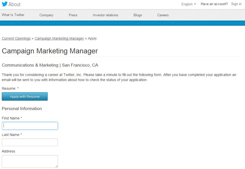Twitter job application screen