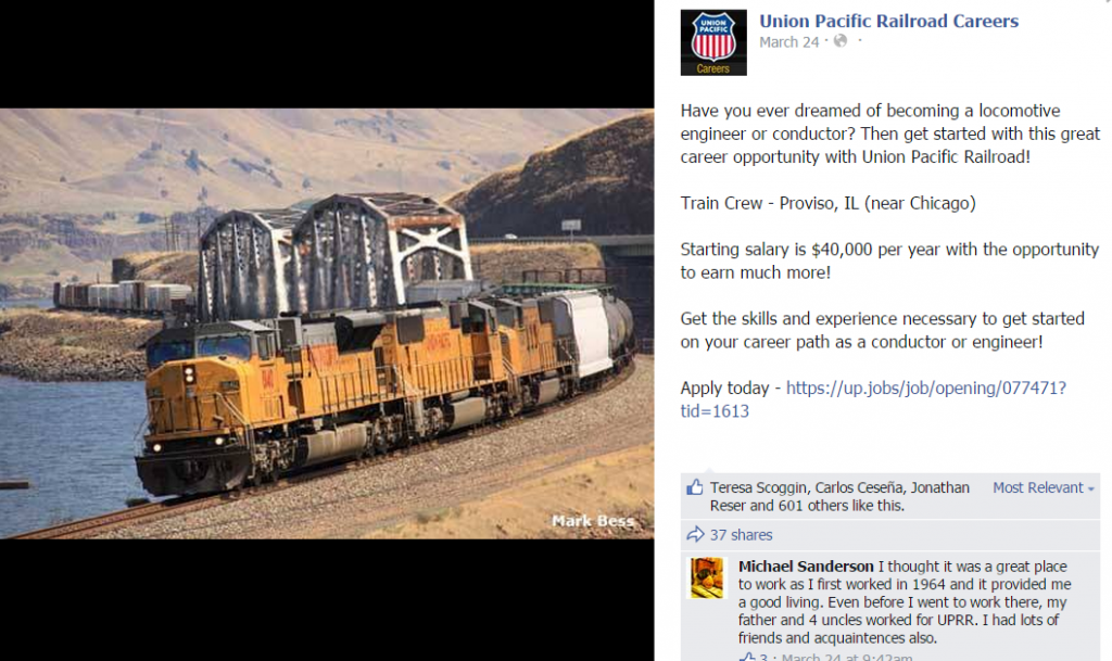 Union Pacific Careers Facebook post
