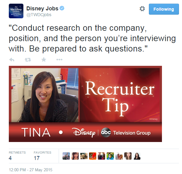 Disney recruiting tweet