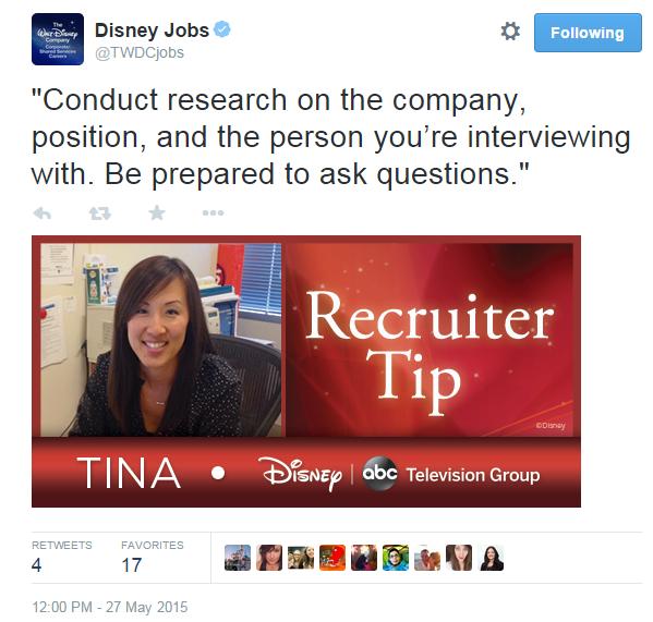 Disney recruiting tweet