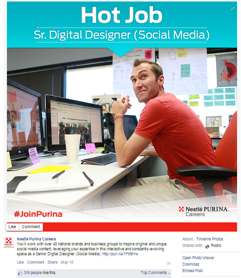 Nestle Purina recruiting post on Facebook