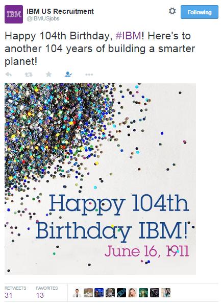 IBM birthday tweet