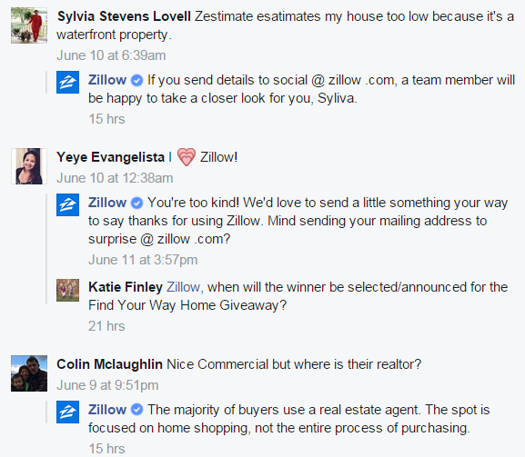 Zillow responds to comments on Facebook