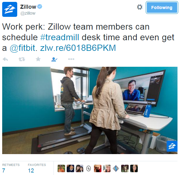 Zillow tweets about employee perk