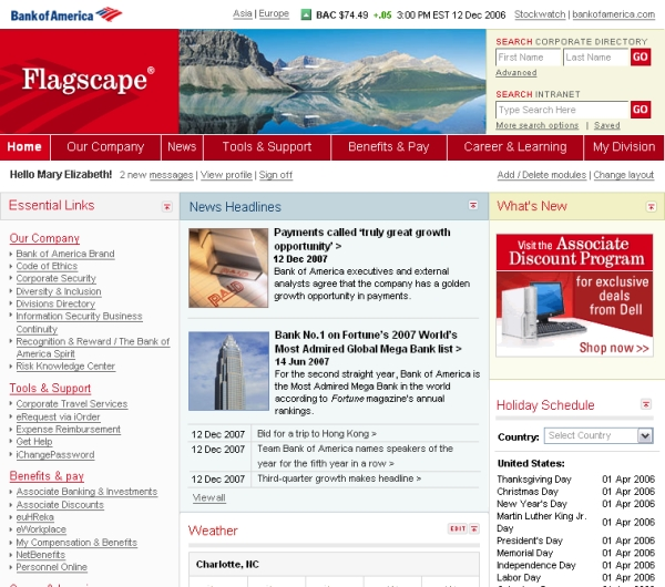 Bank of America's intranet, 2008