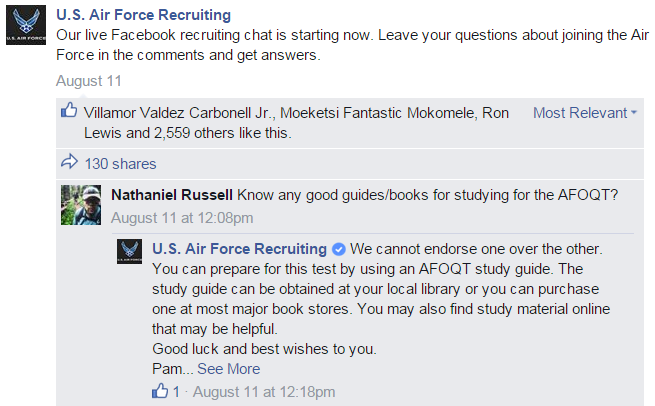 Air Force Facebook chat