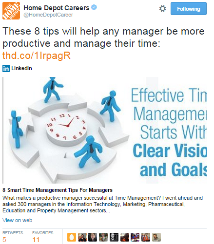 The Home Depot manager advice tweet
