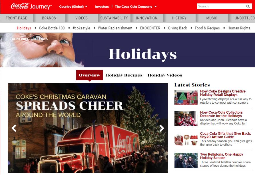 Coke holidays website